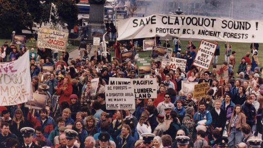A protest to protect the forests of Clayoquot Sound, BC takes place in Victoria in March 1993. A large group of people holding signs and banners gather outdoors.